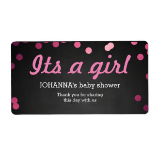 Its A Girl Confetti Chalkboard Water Bottle Favor Shipping Label