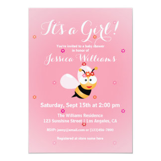 It's a Girl Cute Flower Bee Pink Girl Baby Shower Card