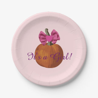 It's a Girl Cute Lil Pumpkin Baby Shower 7 Inch Paper Plate