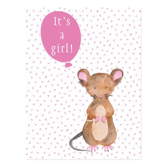 It's a girl  | Cute Woodland Mouse Postcard