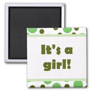It's A Girl! Dot Design Light Green Square Magnet