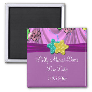 It's A Girl Draped Balloons Due Date Magnet