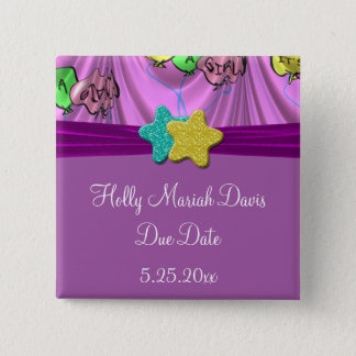 It's A Girl Draped Balloons Save Due Date 15 Cm Square Badge