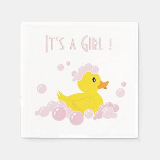It's a Girl Duck Paper Serviettes