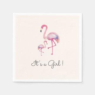 It's a Girl Flamingo Baby Shower Napkin Disposable Serviette