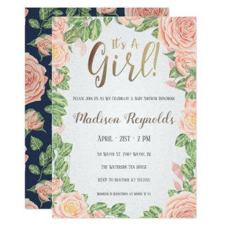 It's A Girl Floral Baby Shower Invitation Dark