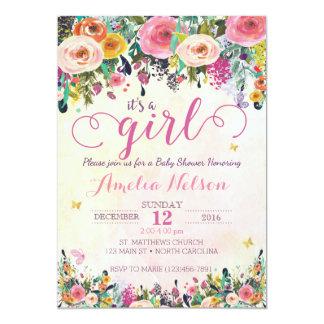 Superior Itu0026#39;s A Girl Floral Garden Baby Shower Invitation