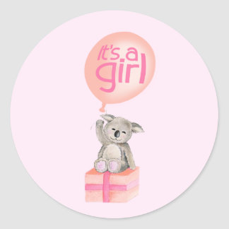 It's a girl koala bear balloon sticker