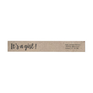 It's A Girl Kraft Style Trendy Script Wrap Around Label