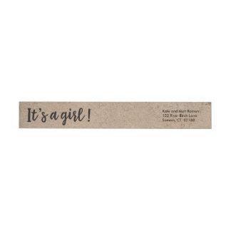 It's A Girl Kraft Style Trendy Script Wraparound Return Address Label