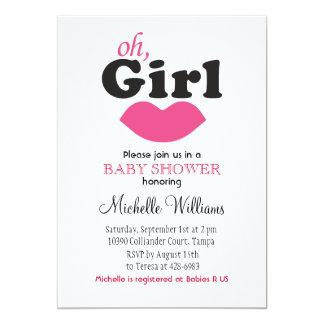 It's A Girl Lips Baby Shower 13 Cm X 18 Cm Invitation Card