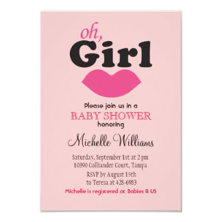 It's A Girl Lips Baby Shower 9 Cm X 13 Cm Invitation Card