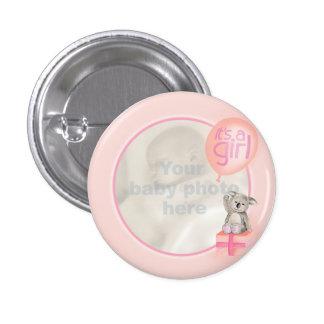 """It's a girl"" newborn photo koala peach badge"