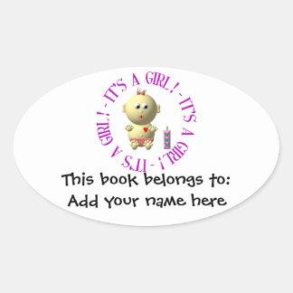 It's a girl! oval sticker