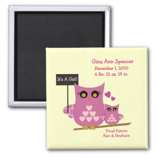 It's A Girl Owl Birth Magnet