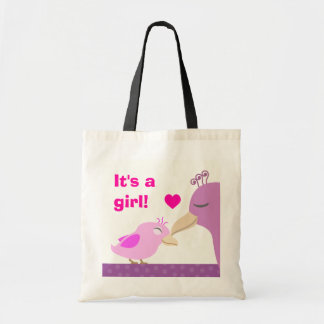 It's a girl pink baby bird budget tote bag