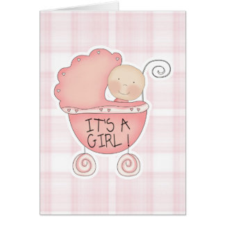 It's a Girl Pink Baby Buggy Congratulations Greeting Card