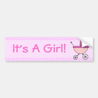 It's A Girl! Pink Baby Carriage Car Bumper Sticker
