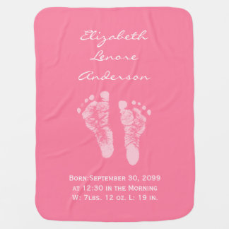 Its a Girl Pink Baby Footprints Birth Announcement Baby Blanket