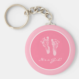 Its a Girl Pink Baby Footprints Birth Announcement Basic Round Button Key Ring