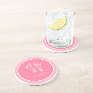 Its a Girl Pink Baby Footprints Birth Announcement Drink Coaster