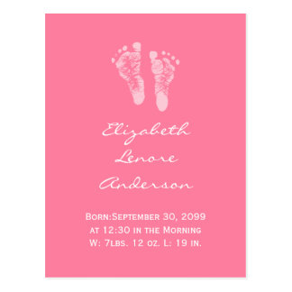 Its a Girl Pink Baby Footprints Birth Announcement Postcard