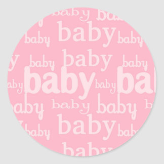 It's A Girl Pink Baby Shower Party Round Sticker