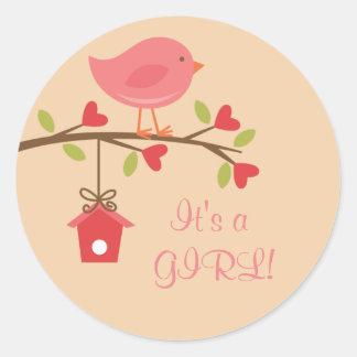 It's a GIRL! Pink Bird Baby Shower Sticker