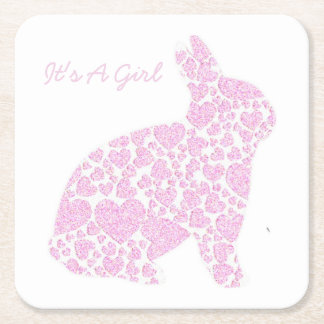 It's a Girl Pink Bunny Paper Coasters Square Paper Coaster