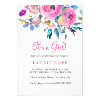 Its a girl pink flower baby shower invite