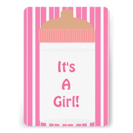 It's A Girl Pink Stripes Baby Bottle Baby Shower Invitation