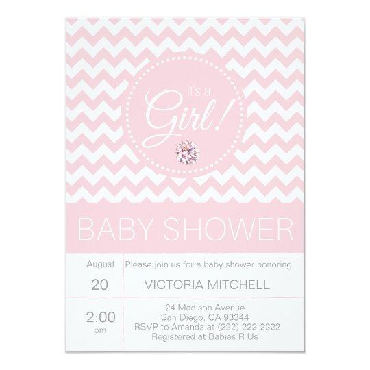 It's a Girl Pink/White Chevron Modern Baby Shower