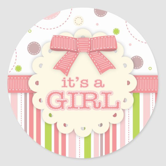 It's a Girl Pinks & Green Stitches Baby