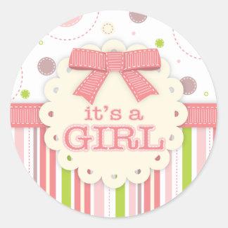 It's a Girl Pinks & Green Stitches Baby Shower Round Sticker