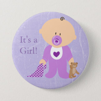 It's a Girl Purple Baby Button