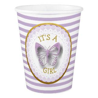 It's a Girl Purple Butterfly Girl Baby Shower cups