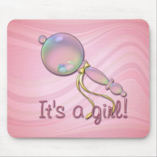 IT'S A GIRL RATTLE by SHARON SHARPE Mouse Pad