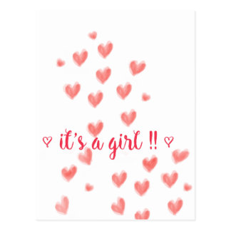 IT'S A GIRL - Red watercolor hearts design Postcard