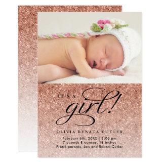 It's a Girl Rose Gold Glitter Photo Announcement