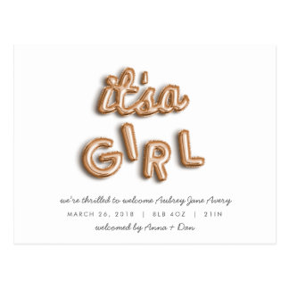 ITS a girl! Rose gold postcard. Postcard