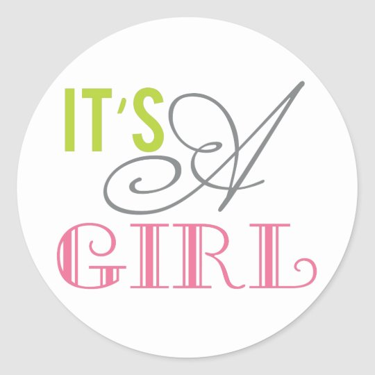 It's a Girl round baby shower favour stickers