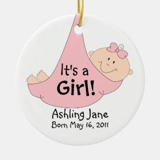 It's a Girl! Round Ceramic Decoration