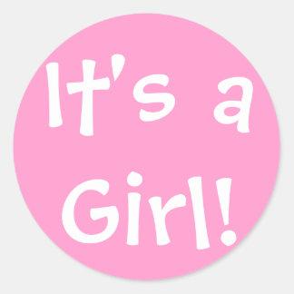 It's a Girl! Round Sticker