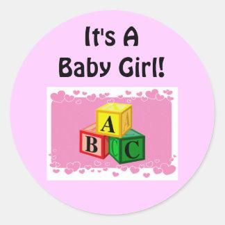It's A Girl Round Sticker