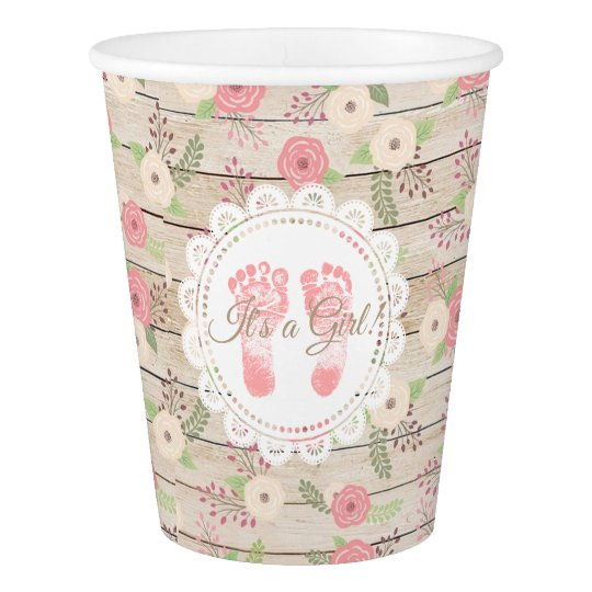 It's a Girl Rustic Wood Pink Flowers Paper Cup