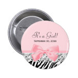 Its a Girl Shower Pink Ribbon and Lace Zebra Print