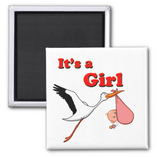 Its a Girl Square Magnet