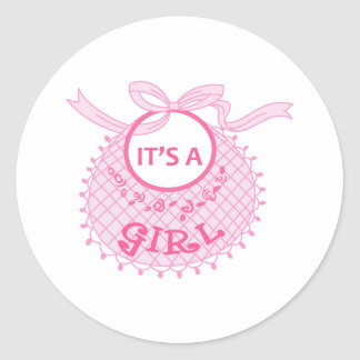 ITS A GIRL ROUND STICKERS