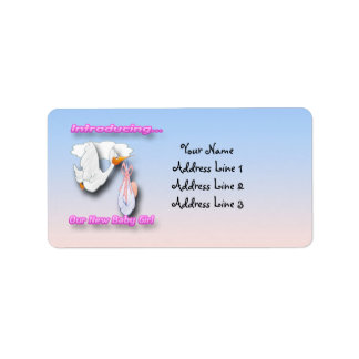It's a Girl Stork Birth Announcement Address Label