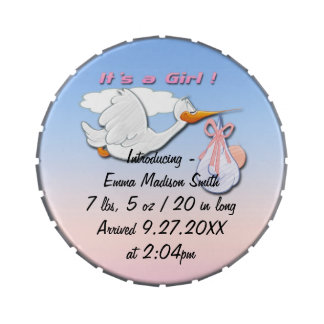 It's a Girl Stork Birth Announcement Candy Tin